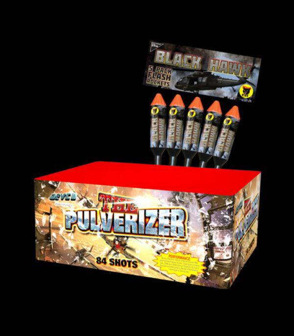 The Pulveriser Single Ignition Cake 84 Shot) With Black Hawk Rocket
